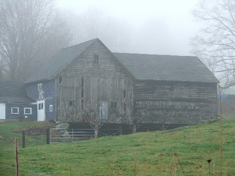Northwood NH Pittsfield NH area barn in fog